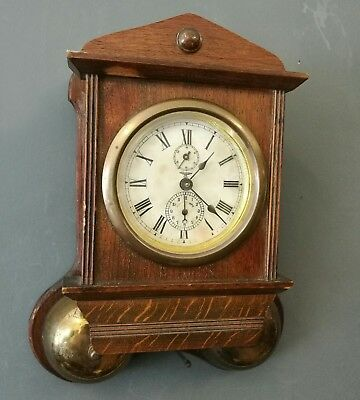 Rare Antique Friedrich Mauthe cased wooden wall thunder alarm clock  German