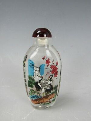 Chinese Glass Reverse Paint Snuff Bottle H 3.5""