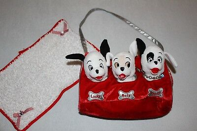 DISNEY _  TOY -  101 Dalmatians Lucky, Roly & Patch in carry bag with blanket