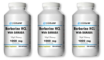 Berberine HCL with Banaba Extract 1000mg 1-3 BIG Bottles 200/400/600 Capsules