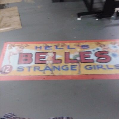 Vintage Freakshow  Sideshow  Circus Fair Carnival  Hell's Belles Girls   Banner