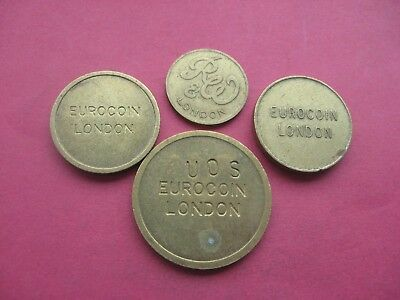 4 x DIFFERENT LONDON GOLD COLOURED TOKENS COINS