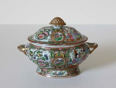 Antique Chinese Export Porcelain COVERED TUREEN Rose Medallion 19th Century