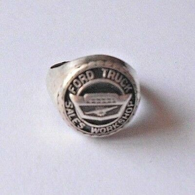 "VINTAGE ""FORD TRUCK SALES WORKSHOP"" EMBLEM/ADVERTISING SILVER RING~16.9g"