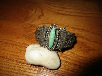 Vintage American Indian Navajo Old Pawn Silver Turquoise Bracelet Fred Harvey