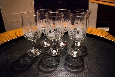 Set of 6 Arby's Winter Scene Frosted Goblet Glasses