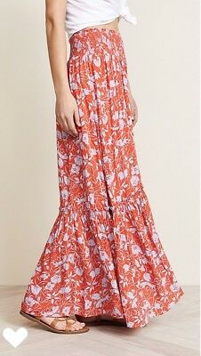 91073a66f0 NEW FREE PEOPLE 2018 Way of the Wind Printed Maxi Skirt Sz XS Red ...