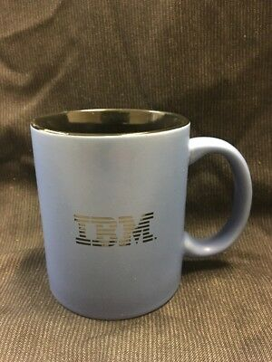 vintage ceramic 'IBM' corporate logo coffee mug Blue On Black