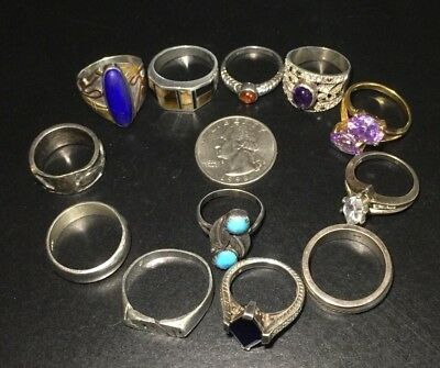 925 Sterling Silver Lot Of 12 Wearable Rings 62 Grams
