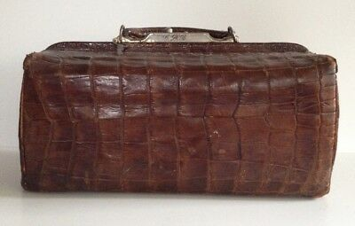 Antique Patented 1877 Crocodile Doctors Bag with Lock & Key Travel Stickers