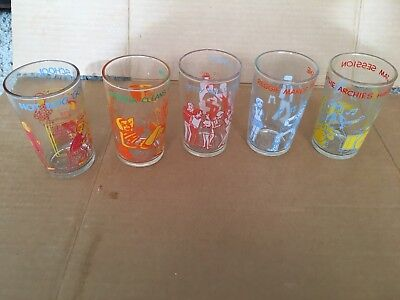 Vintage 1970's Welch's Archie Jelly Jar Juice Glasses Lot Of 5