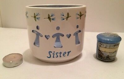 """""""Sister"""" Blue/White Candle Holder With Blue Yankee Candle """"Fresh Comfort"""" 1.75oz"""