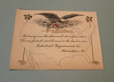 WWI Era Industrial Requirements Co Advertising Christmas Card Philadelphia Eagle