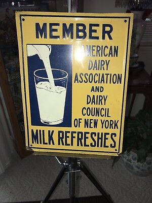 """Embossed ,milk Refreshes """"member American Dairy Assc. Of New York"""" Tin Sign Nos"""