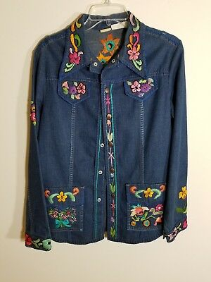 Vintage 1960's Hand-embroidered Flowered Hillbilly Brand Woman's Denim Jacket