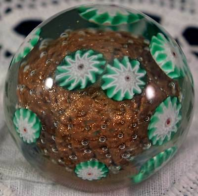 Murano Art Glass Paperweight  Loaded w Sparkling Goldstone & Floating Millefiori