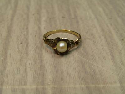 10k Yellow Gold Jewelry Ring Flower Shape White Pearl Center Size 3.5 US