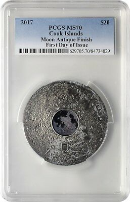 2017 $20 Cook Islands Moon The Earth Satellite 3 oz. Silver Coin PCGSMS70 FD