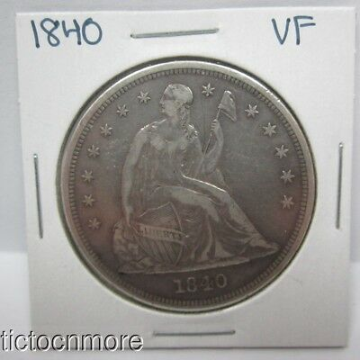 Us 1840 Seated Liberty Silver Dollar $1 Coin Key Date Early Vf Very Fine