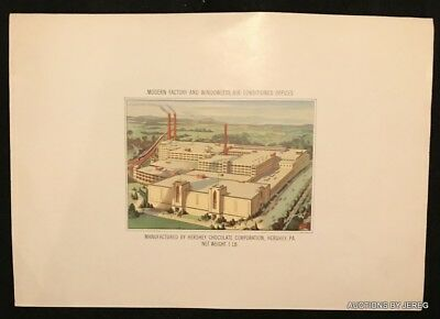 1950's Hershey Chocolate Co Bottom Box Label Showing The Factory