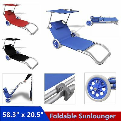 Foldable Aluminum Sunlounger Outdoor Daybed Sun Bed With Canopy and Wheels Sale