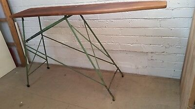 vintage FRAZER wooden/steel ironing board industrial display table/hall stand