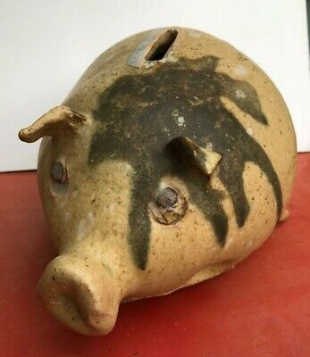 Vintage pottery piggy bank heavy hand thrown damage but cute