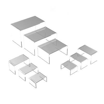 9 Clear Acrylic Risers Set Showcase Jewelry Display Stands New