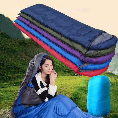 Envelope Sleeping Bag Weather Camping Hiking Outdoor Portable Travel Liner + Bag