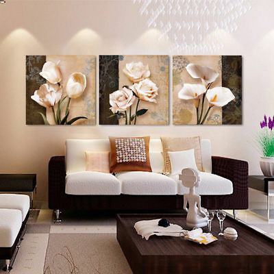 Framed Home Decor Abstract Tulips Flowers Canvas Prints Painting Wall Art 3PCS