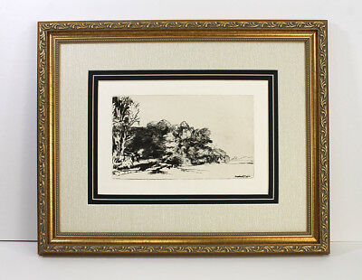 1800s REMBRANDT B222 Antique Etching Landscape with Trees SIGNED Framed COA