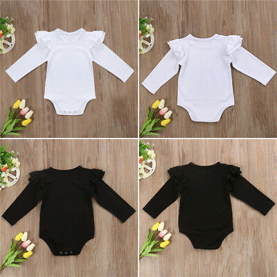 Infant Newborn Baby Girl Cotton Long Sleeve Bodysuit Romper Jumpsuit Clothes