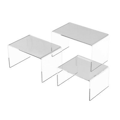 """5"""", 6"""", 7 """" Set of 3 Pack Large Clear Acrylic Risers Jewelry Display Stands"""