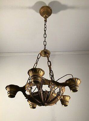 Antique vtg Art Deco bare bulb chandelier light fixture unrestored 1930's