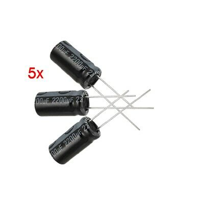 5 x 2200UF 16V 105C Radial Electrolytic Capacitor 10x20mm L6W8