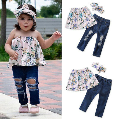 US Stock Toddler Kids Baby Girl Off Shoulder Tank Tops+Pants Outfit Clothes Set
