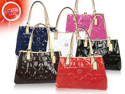 COACH Peyton Embossed Signature Patent Leather Satchel Carryall Tote 25487
