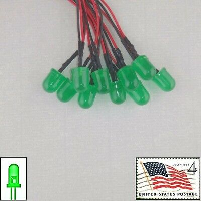 10x 10mm Green Diffused Round LEDs Pre Wired 3v-5v Light Lamp USA