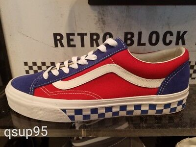 0dc3c81705 Vans Classic Old Skool Style 36 BMX Checkerboard Blue Red White USA Sz 8-13