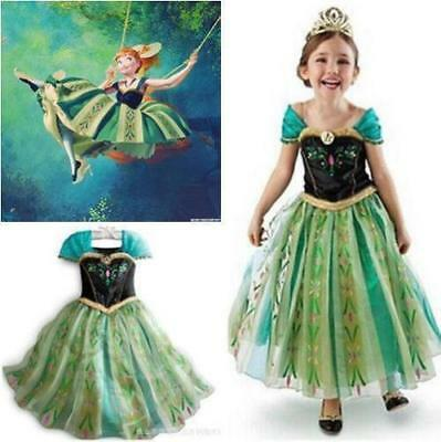Frozen Elsa and anna Princess Dress Kids Costume Party Cosplay Girls Fancy Dress