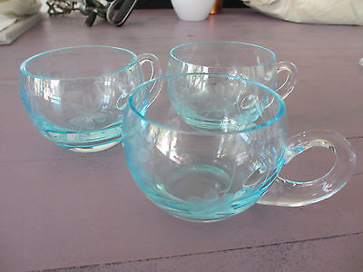 Krosno for Anthropologie 3 sheer blue glass cups made in Poland New