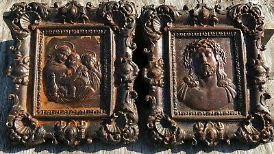 Antique Vintage Religious French Cast Iron Pictures *