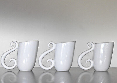 Vintage JENNY ORCHARD CERAMIC MUGS Australian Studio Artist Pottery SET OF 3 90s