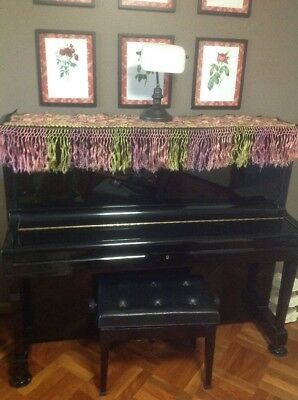 Vintage Piano Shawl Runner Embroidery Fringe Pink Green