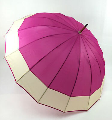 Pink Umbrella with Cream Border Wooden Curved Handle
