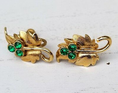 Vintage Goldtone Green Crystal Rhinestone Leaf Screwback Earrings