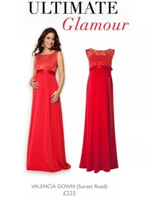 Tiffany rose designer maternity red gown size 2 10-12 RRP £225