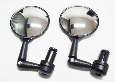 2 x 3D Bar End Mirror for Bicycles with Round Convex Mirrors FREE POST