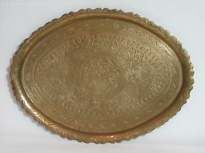 "Antique Hand-Engraved Brass Tray ""The Tree of Life"" – Arts & Crafts"