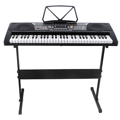 61 Key Music Electronic Keyboard Electric Digital Piano Organ with Stand Black